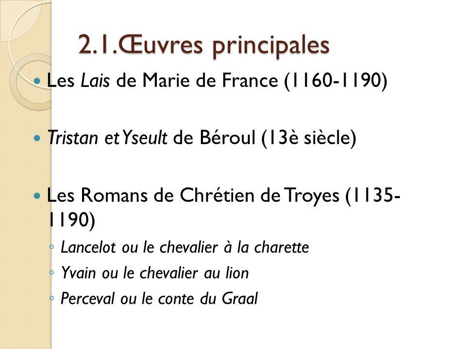 2.1.Œuvres principales Les Lais de Marie de France (1160-1190)