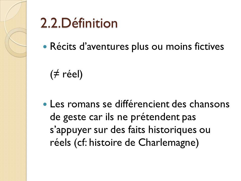 2.2.Définition Récits d'aventures plus ou moins fictives (≠ réel)