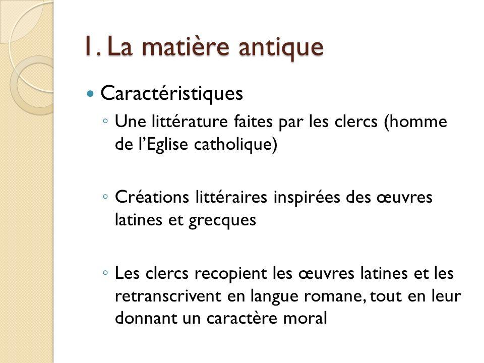 1. La matière antique Caractéristiques