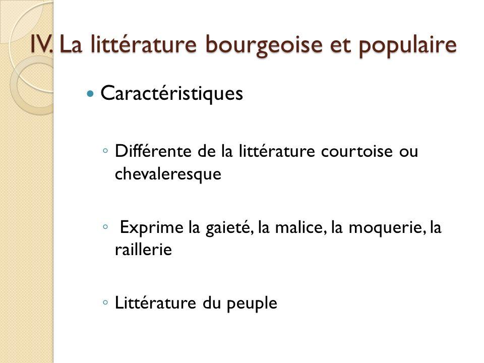 IV. La littérature bourgeoise et populaire