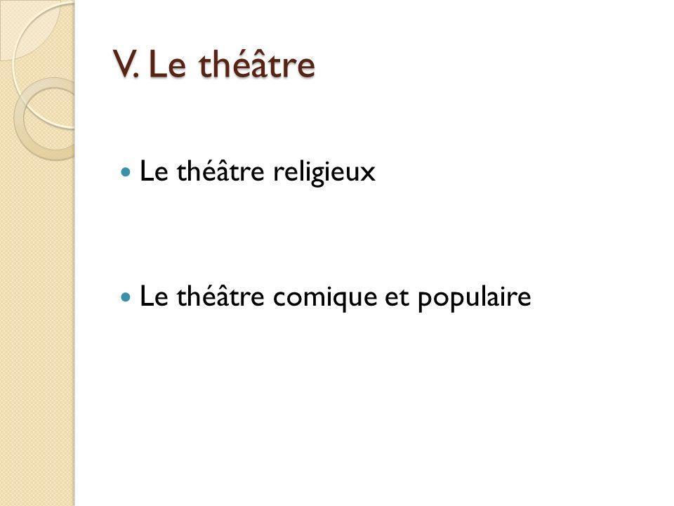 V. Le théâtre Le théâtre religieux Le théâtre comique et populaire