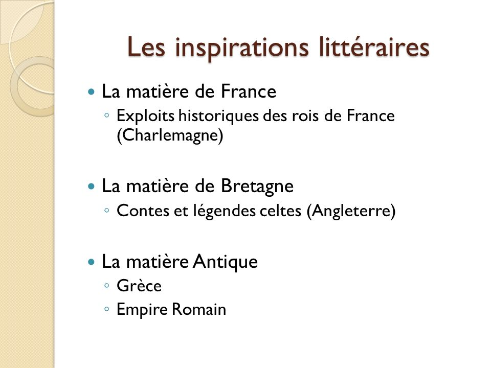 Les inspirations littéraires