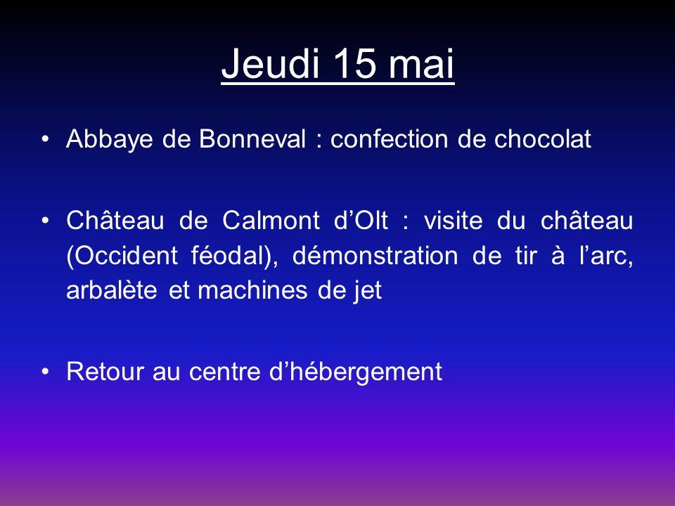 Jeudi 15 mai Abbaye de Bonneval : confection de chocolat