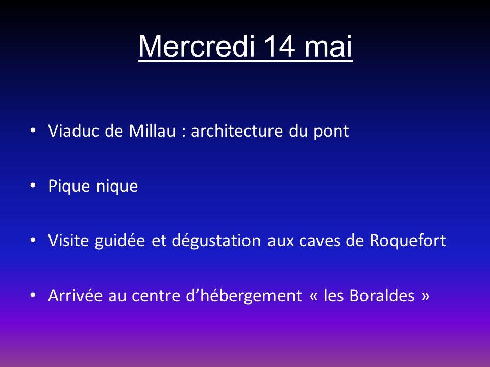 Mercredi 14 mai Viaduc de Millau : architecture du pont Pique nique