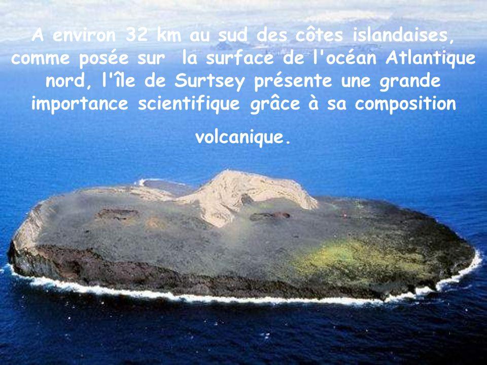 A environ 32 km au sud des côtes islandaises, comme posée sur la surface de l océan Atlantique nord, l île de Surtsey présente une grande importance scientifique grâce à sa composition volcanique.