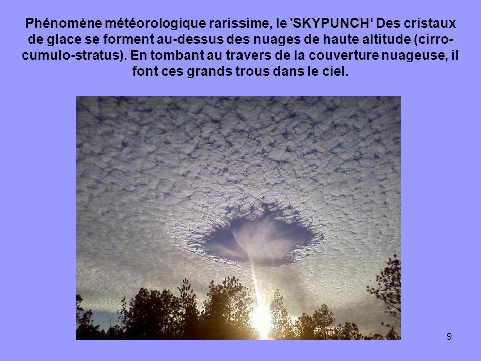 Phénomène météorologique rarissime, le SKYPUNCH' Des cristaux de glace se forment au-dessus des nuages de haute altitude (cirro-cumulo-stratus).
