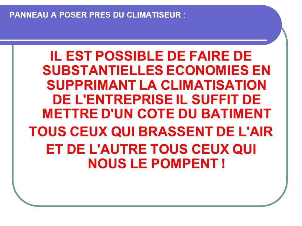 PANNEAU A POSER PRES DU CLIMATISEUR :