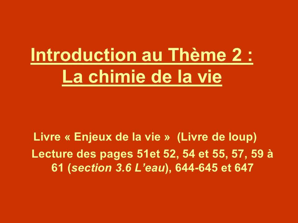 Introduction au Thème 2 : La chimie de la vie