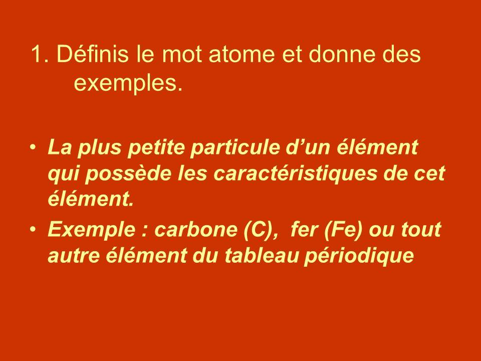 1. Définis le mot atome et donne des exemples.