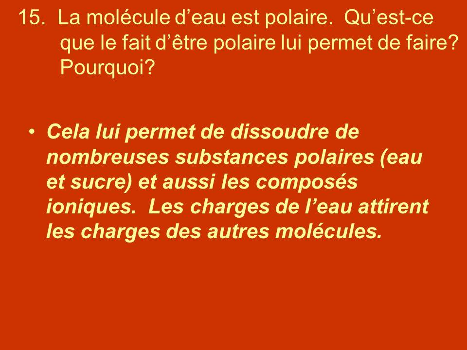 15. La molécule d'eau est polaire