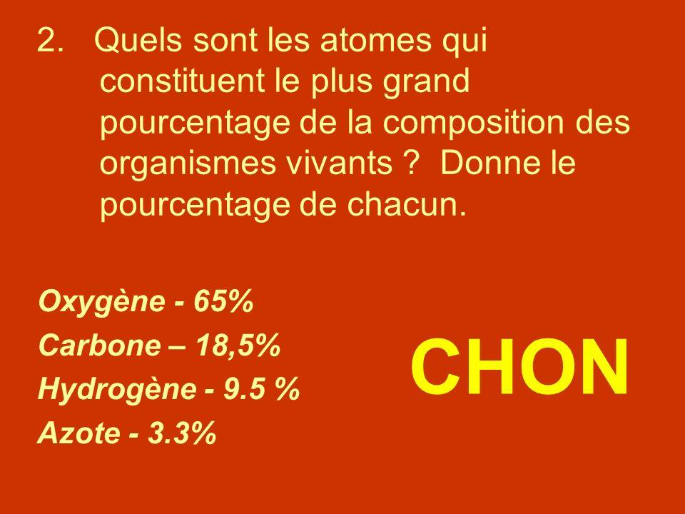 2. Quels sont les atomes qui constituent le plus grand pourcentage de la composition des organismes vivants Donne le pourcentage de chacun.