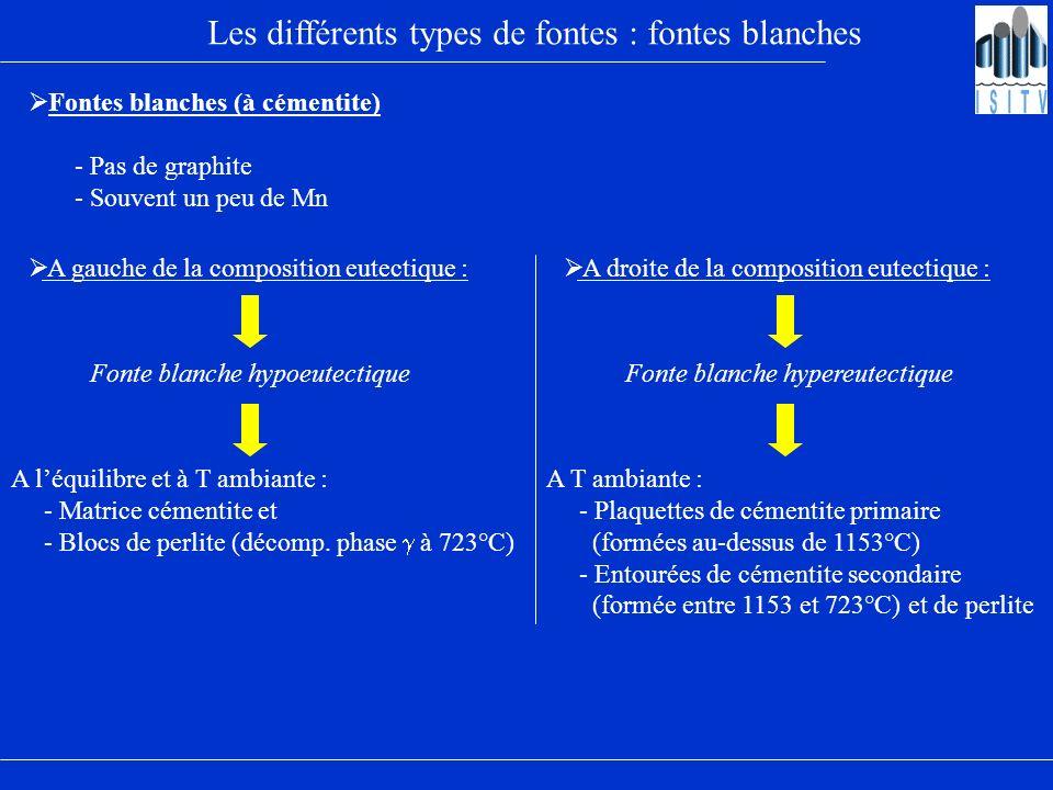 Les différents types de fontes : fontes blanches
