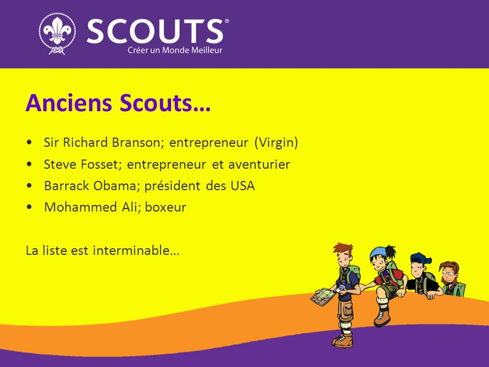 Anciens Scouts… Sir Richard Branson; entrepreneur (Virgin)