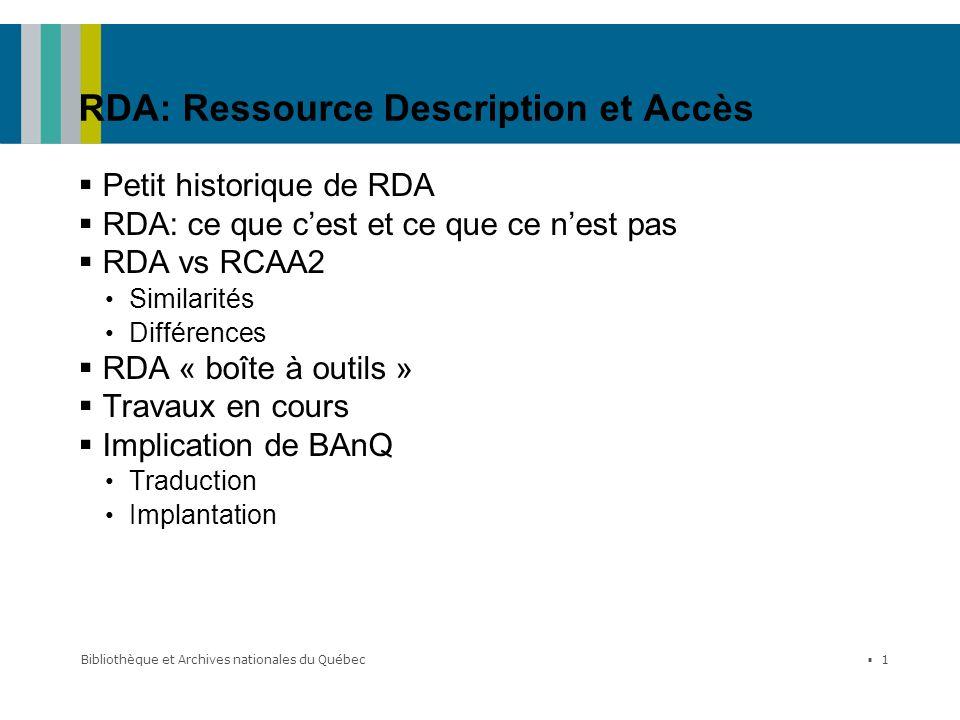 RDA: Ressource Description et Accès