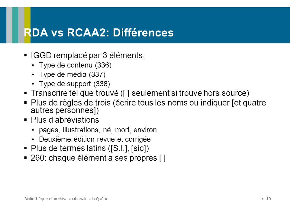 RDA vs RCAA2: Différences