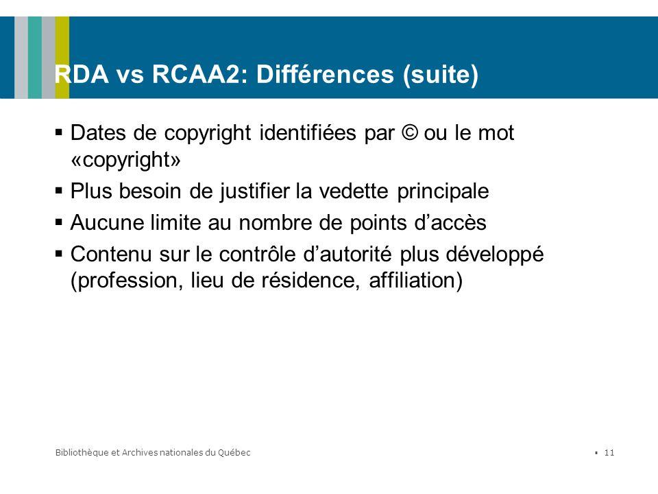 RDA vs RCAA2: Différences (suite)