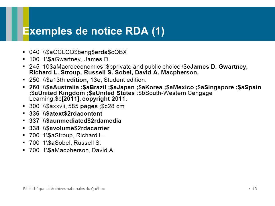 Exemples de notice RDA (1)