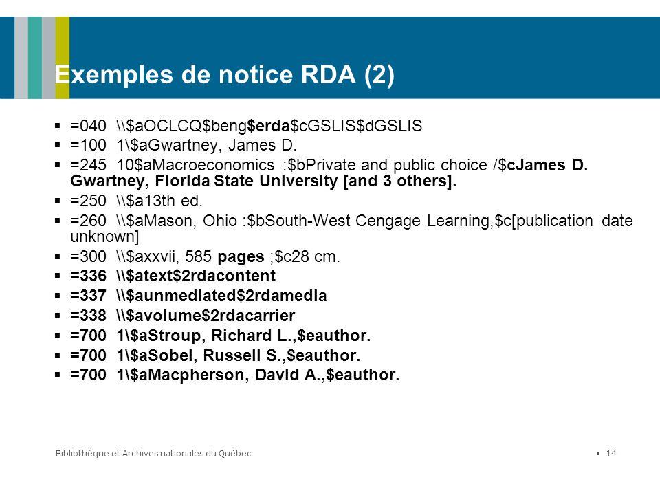 Exemples de notice RDA (2)