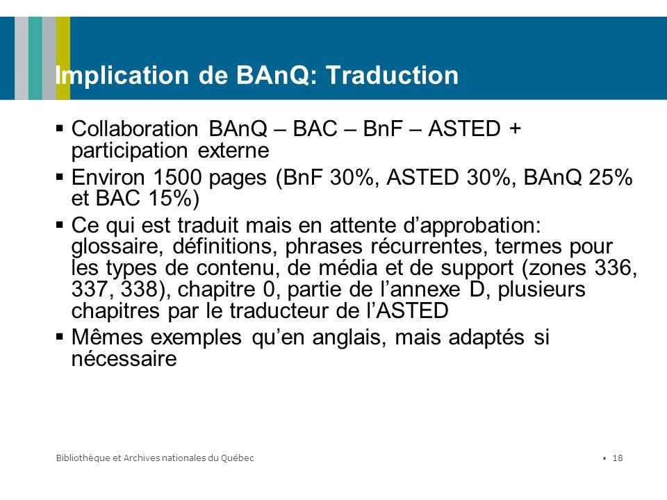 Implication de BAnQ: Traduction