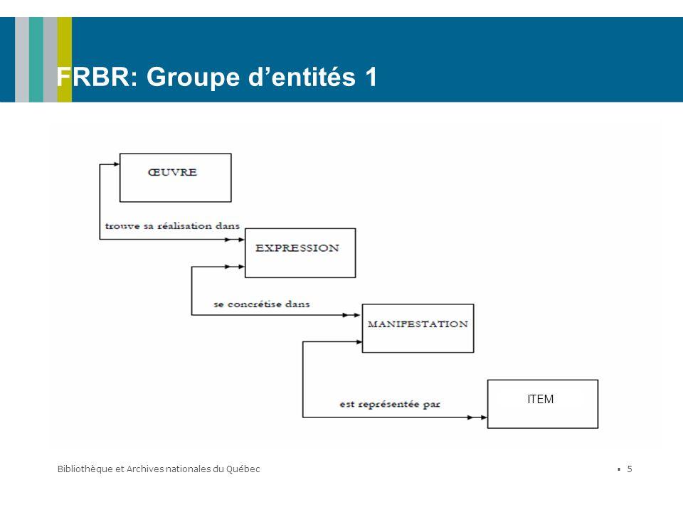 FRBR: Groupe d'entités 1