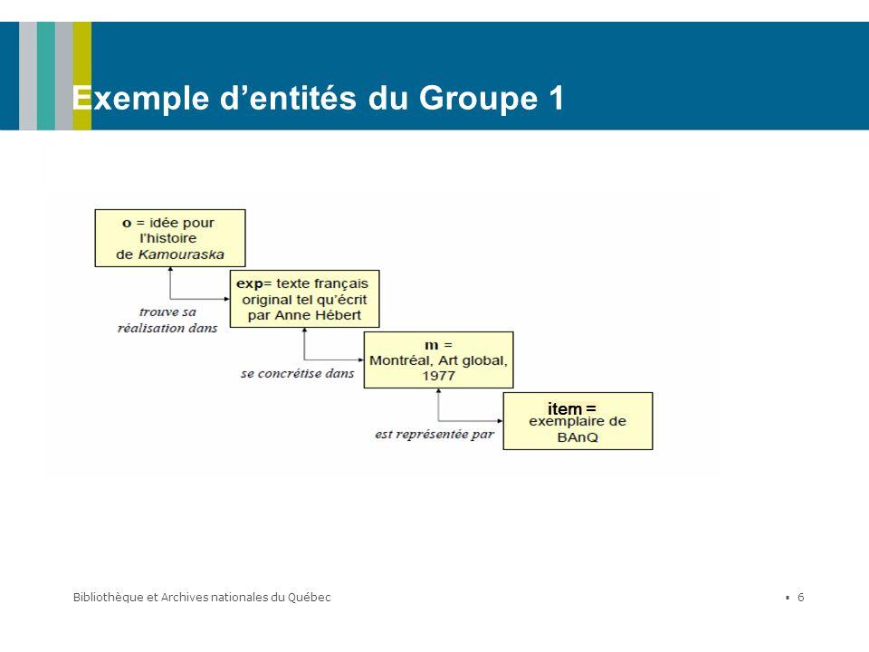 Exemple d'entités du Groupe 1