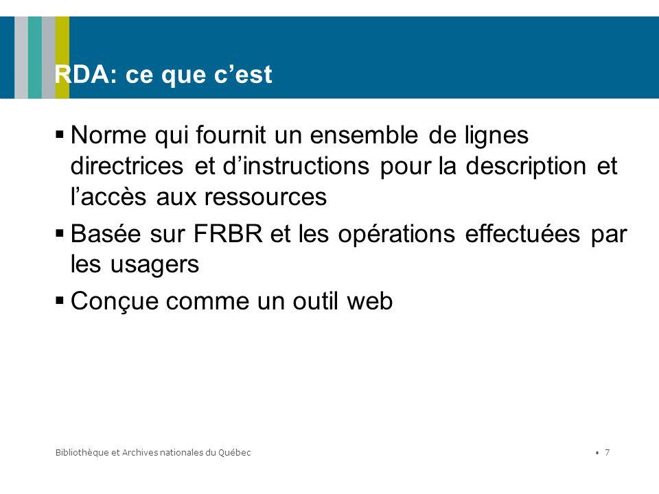 Basée sur FRBR et les opérations effectuées par les usagers