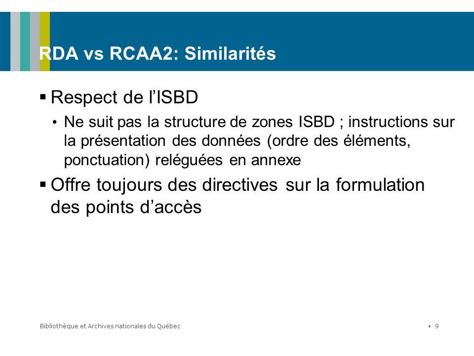 RDA vs RCAA2: Similarités