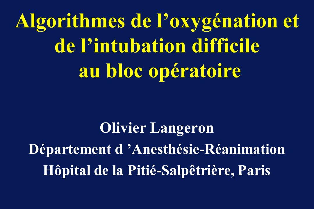 Algorithmes de l'oxygénation et de l'intubation difficile au bloc opératoire