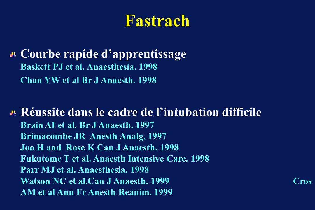 Fastrach Courbe rapide d'apprentissage Baskett PJ et al. Anaesthesia. 1998.
