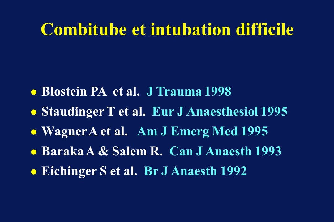 Combitube et intubation difficile