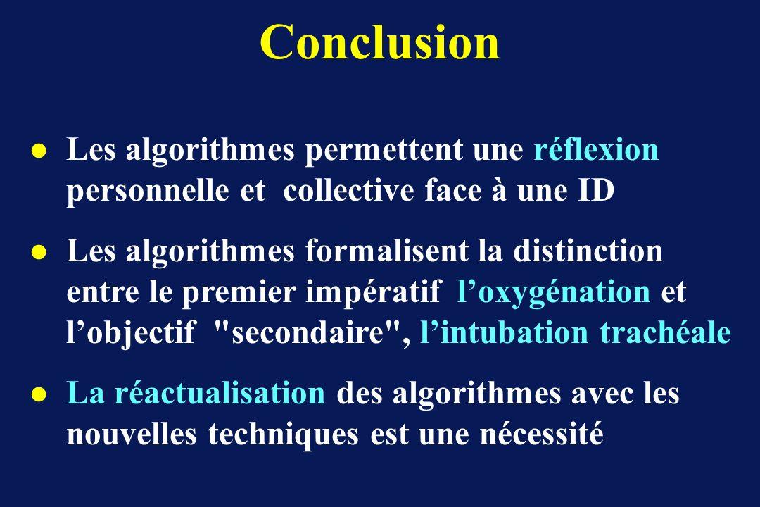 Conclusion Les algorithmes permettent une réflexion personnelle et collective face à une ID.