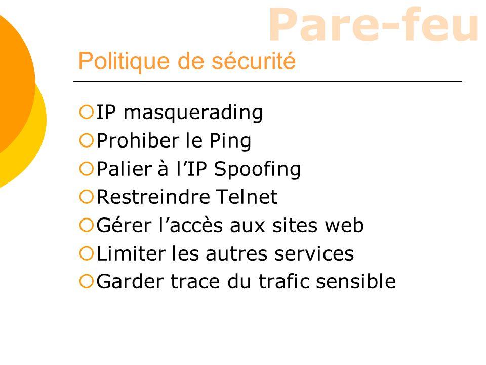 Politique de sécurité IP masquerading Prohiber le Ping