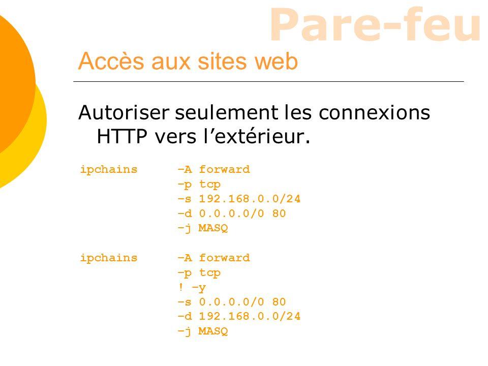 Accès aux sites web Autoriser seulement les connexions HTTP vers l'extérieur. ipchains –A forward.