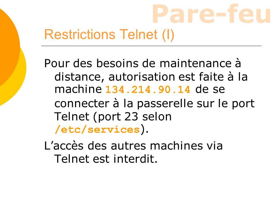 Restrictions Telnet (I)