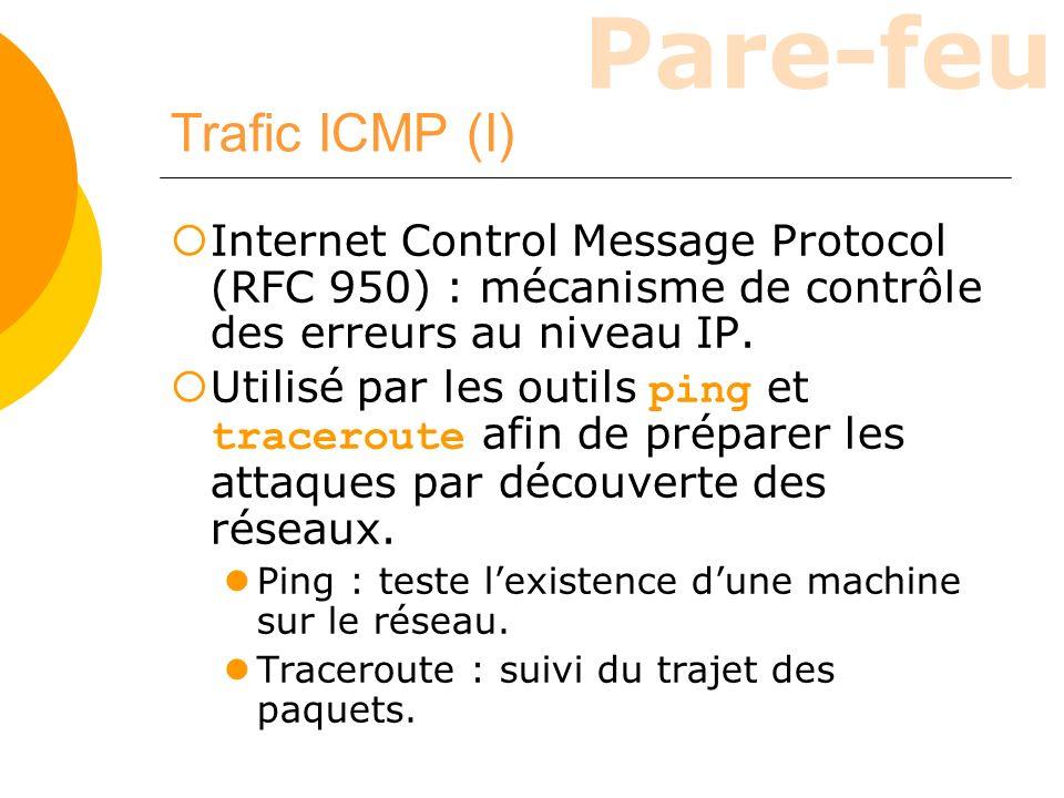 Trafic ICMP (I) Internet Control Message Protocol (RFC 950) : mécanisme de contrôle des erreurs au niveau IP.