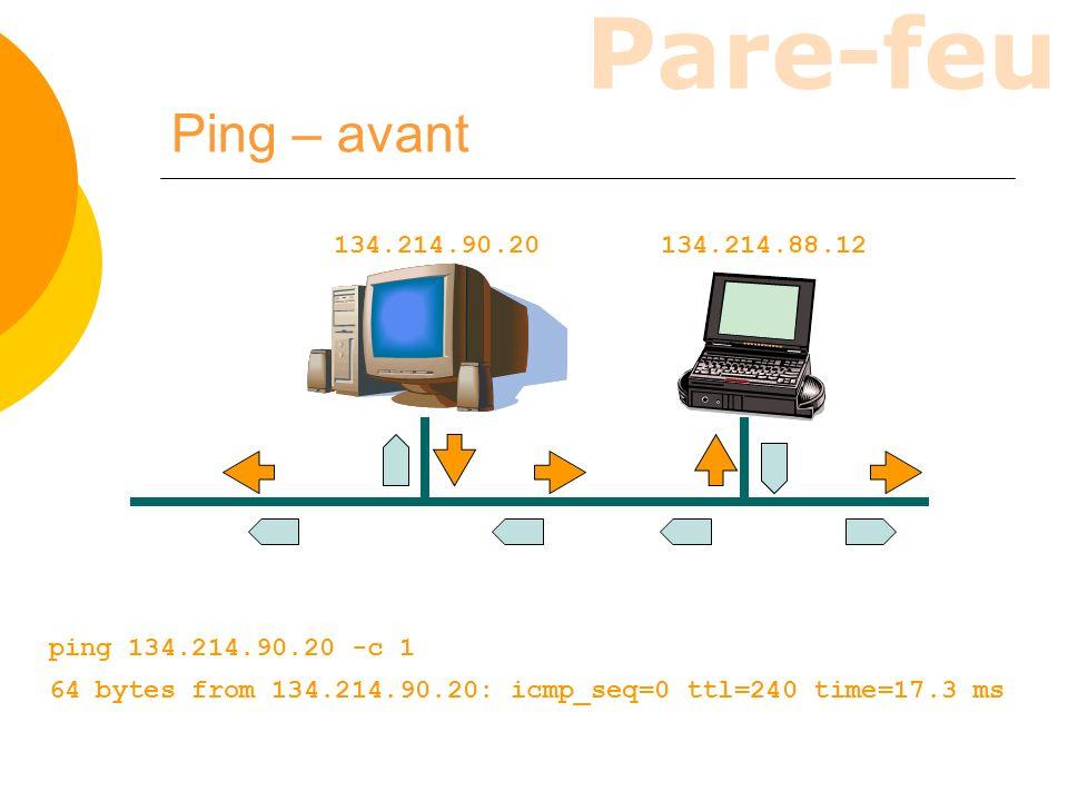 Ping – avant 134.214.90.20. 134.214.88.12. ping 134.214.90.20 -c 1.