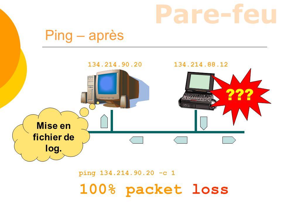 100% packet loss Ping – après Mise en fichier de log.