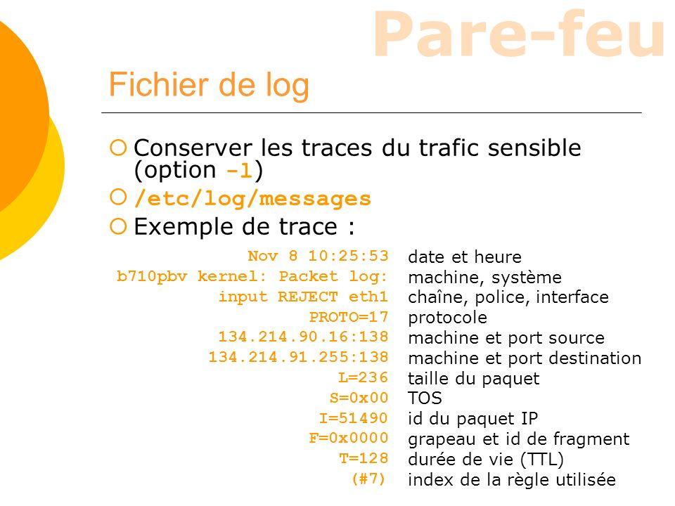 Fichier de log Conserver les traces du trafic sensible (option -l)