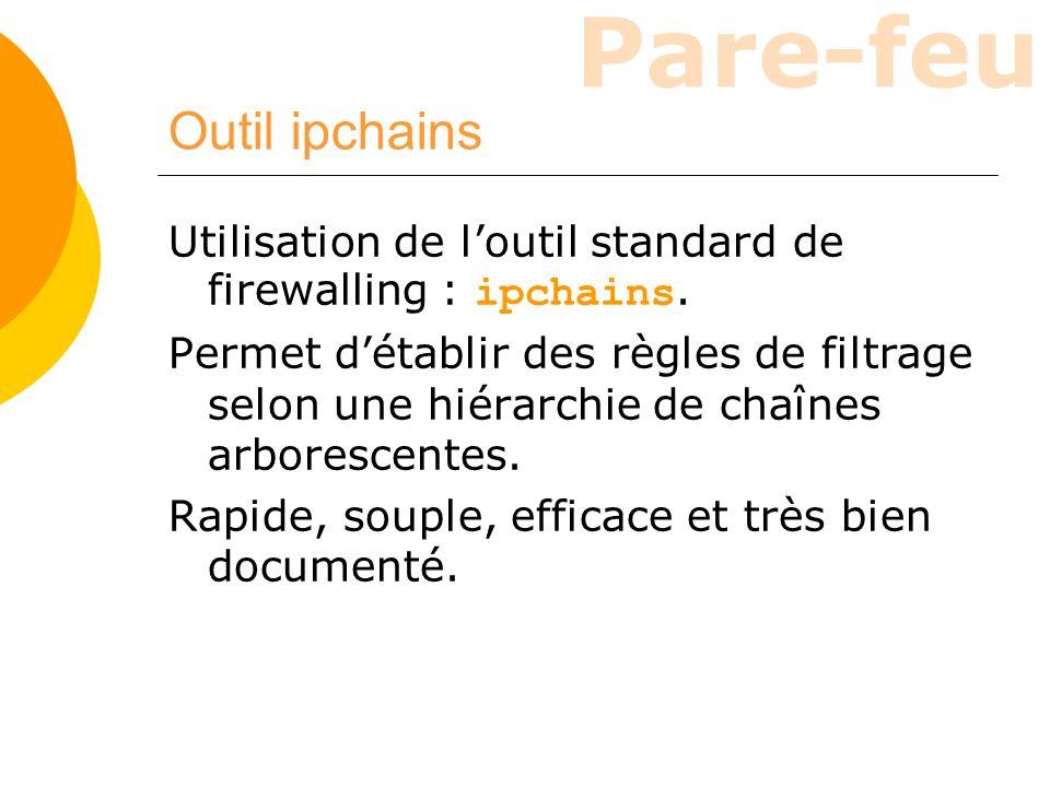 Outil ipchains Utilisation de l'outil standard de firewalling : ipchains.