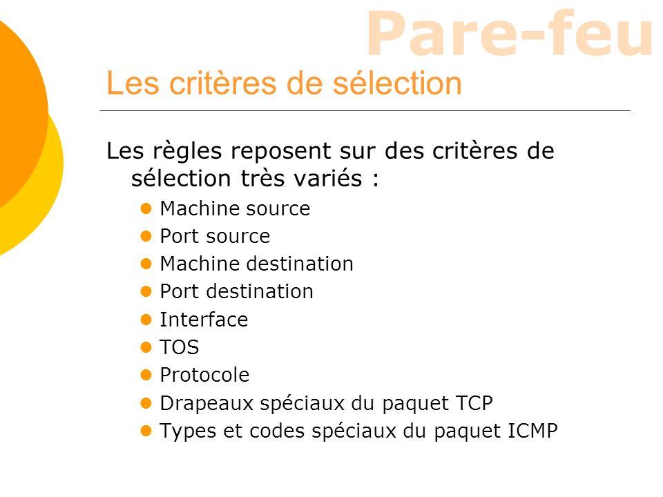 Les critères de sélection
