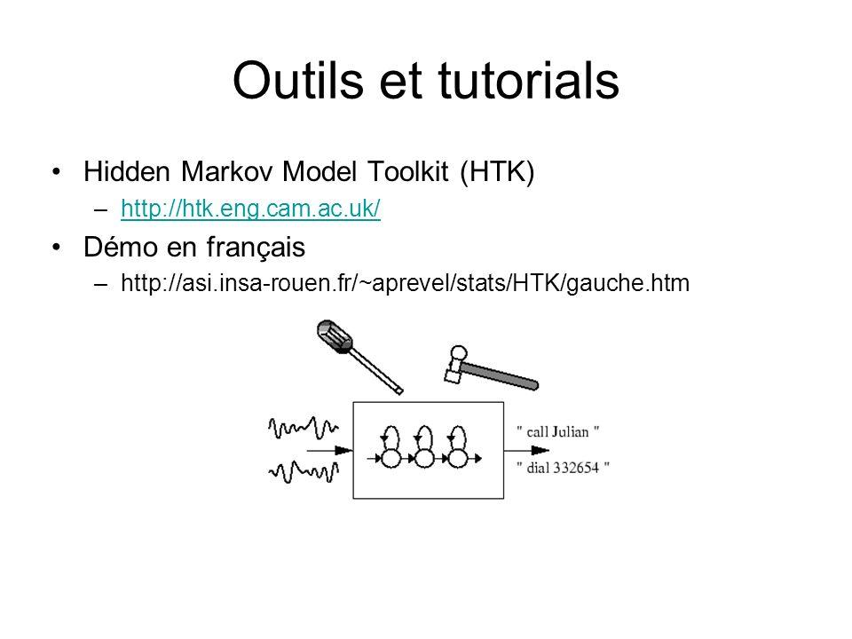 Outils et tutorials Hidden Markov Model Toolkit (HTK) Démo en français