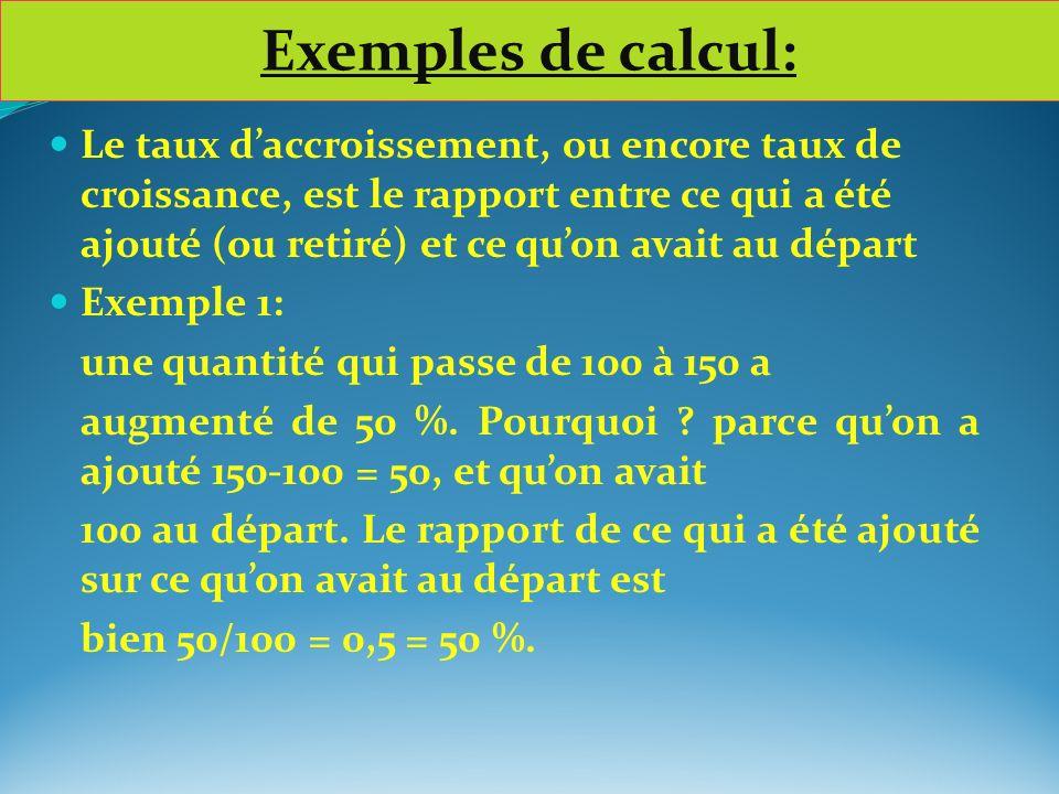 Exemples de calcul: