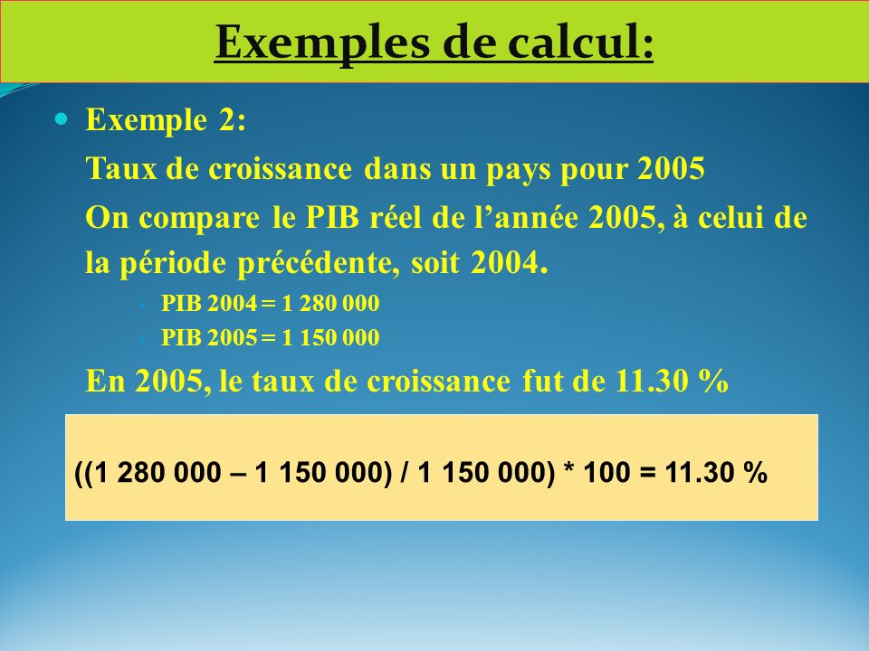 Exemples de calcul: Exemple 2: