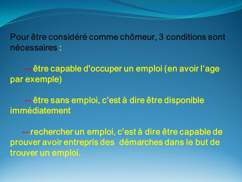 Pour être considéré comme chômeur, 3 conditions sont nécessaires :