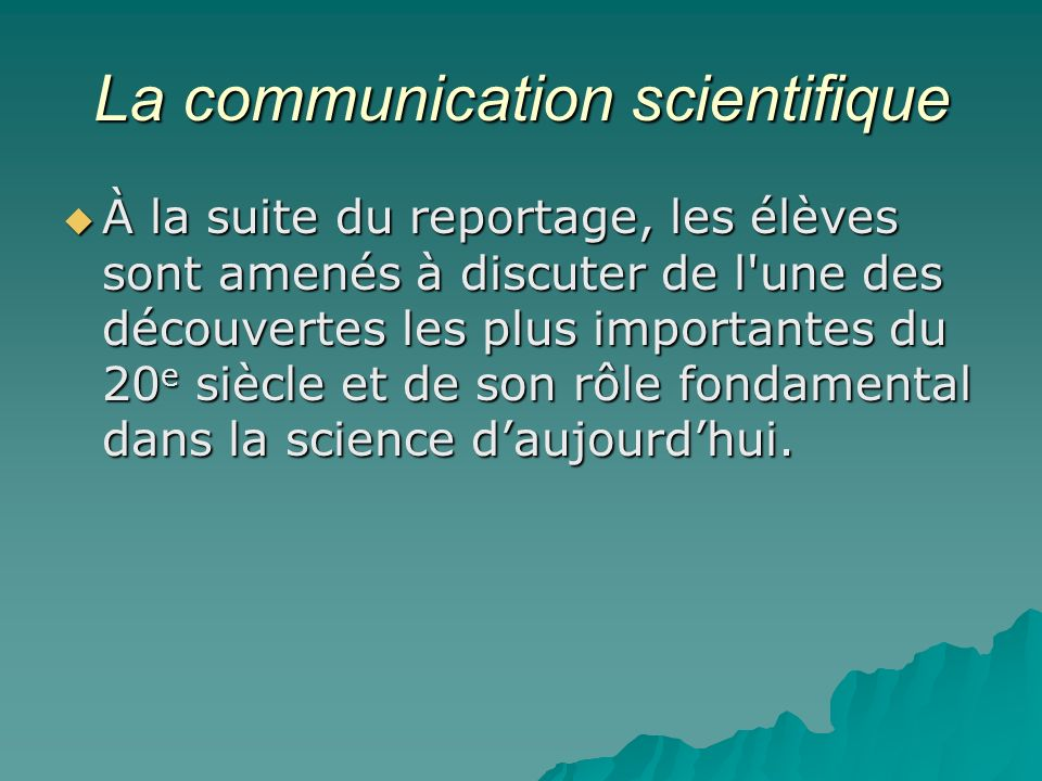 La communication scientifique