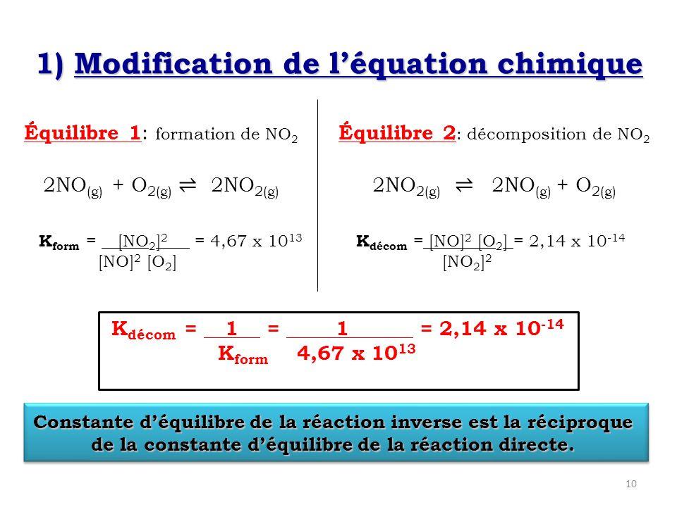 1) Modification de l'équation chimique