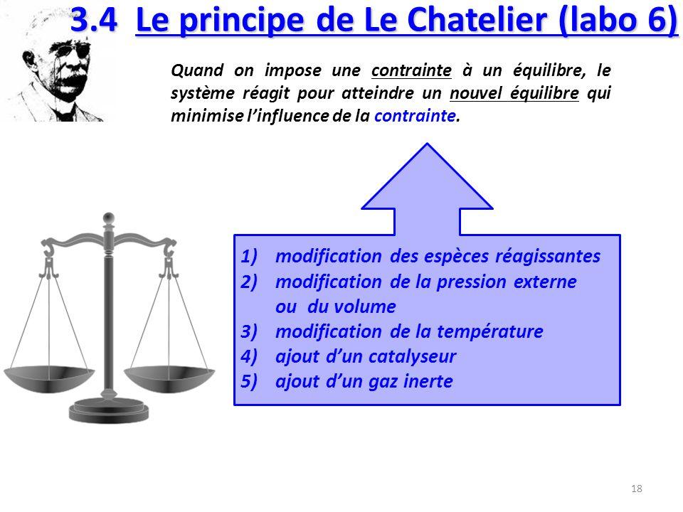 3.4 Le principe de Le Chatelier (labo 6)