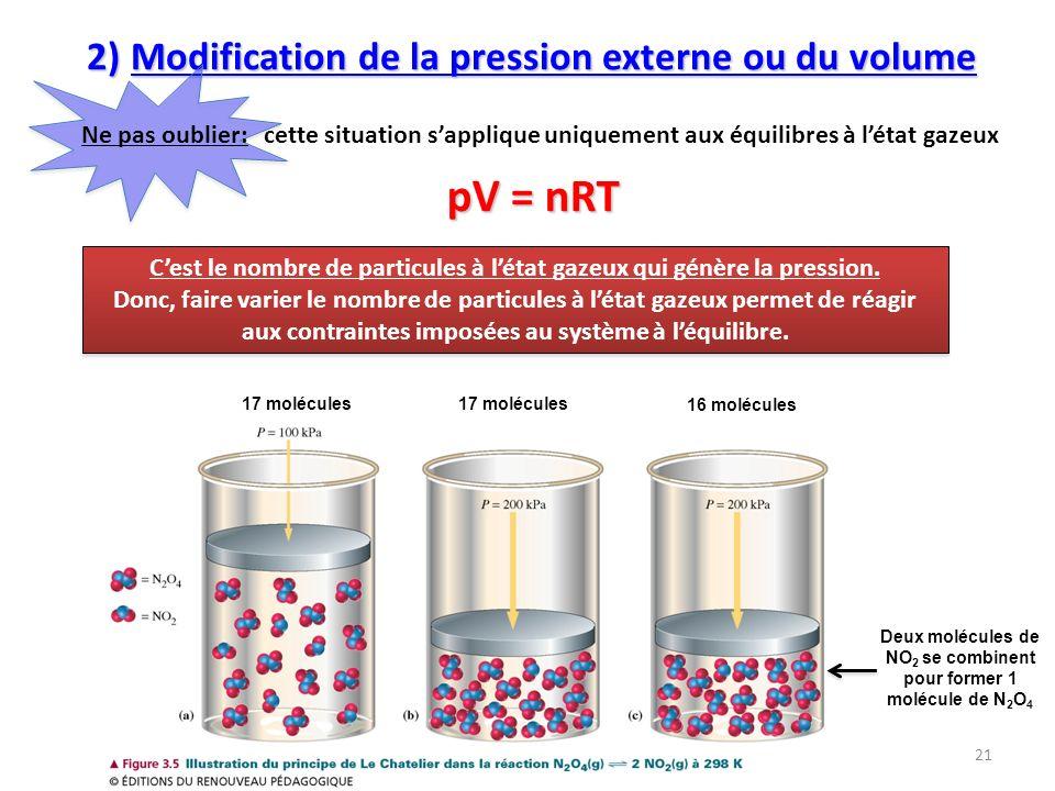 2) Modification de la pression externe ou du volume