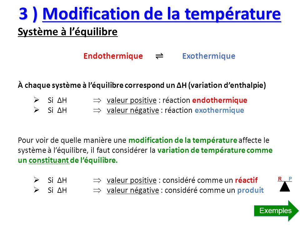3 ) Modification de la température