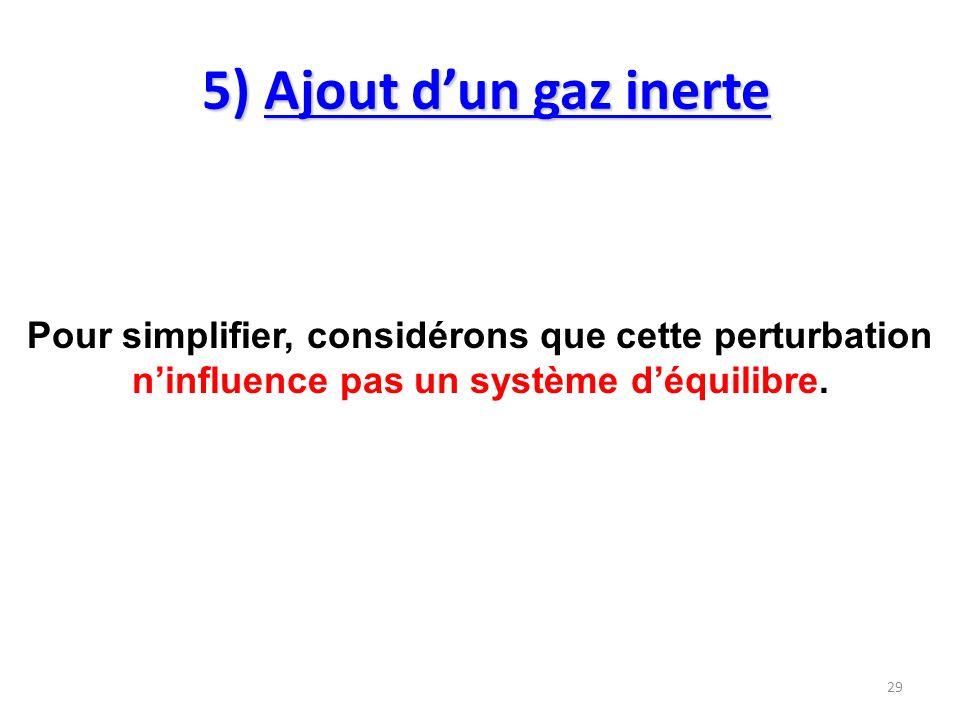 5) Ajout d'un gaz inerte Pour simplifier, considérons que cette perturbation n'influence pas un système d'équilibre.
